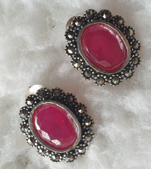 nausnice srebro 925 i rubini 1.4 cm