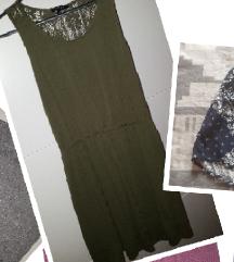 Maslinasto zelena haljina sa cipkom S/M