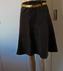 Tamnosmeđa suknja od samta - Italy - br M