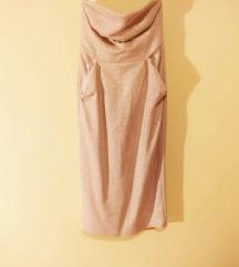 Svečana haljina bež boje s zlatnim detaljima