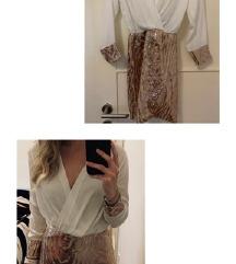 Bijelo zlatna haljina