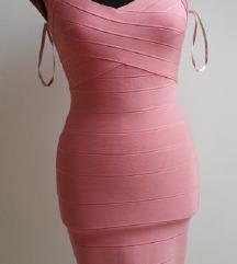 HERVE LEGER roza bandage haljina