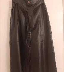 Kožna midi suknja L