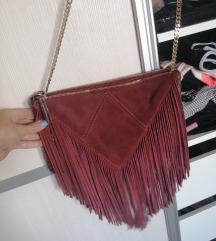 Zara kozna bordo torbica