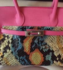 CLAUDE GERARD kožna pink ružičasta torba