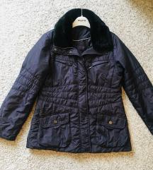 Tamnoplava jakna parka s krznom vel L