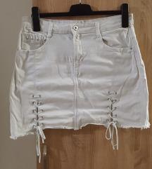 Bijela mekana traper suknja