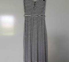 Midi prugasta haljina bez naramenica
