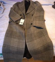 Zara vuneni sivi karirani dugi oversized kaput XS