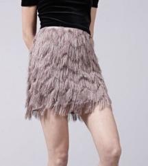 Novo stradivarius mini suknja na rese i šljokice