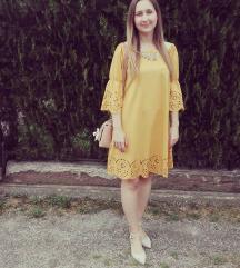 Žuta svečana haljina bez ramena
