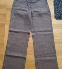 Maslinasto zelene lanene hlače