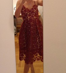 Bordo čipkana haljina