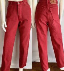Levisice 501 crvene visok struk Levi's hlače M/L
