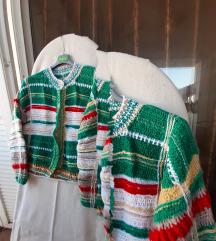 Zeleno-šarena vunena jakna L