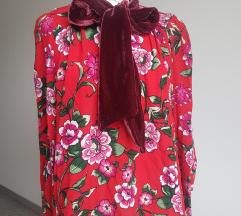Zara - cvijetna bluza s plišanom mašnom