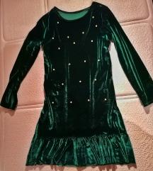 NOVO Baršunasta haljina smaragdno zelena,uklj pt