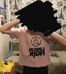 Linkin park cropped roza majica