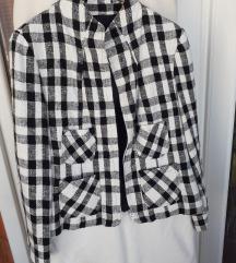 Crno-bijeli laneni sako jaknica L