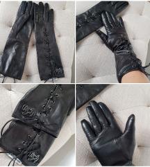 Dugačke kožne rukavice na vezanje M