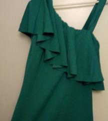 Asimetricna zelena haljina