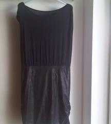 Ljetna midi haljina s umjetnom kožom v. 36/37