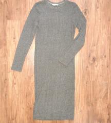 Siva rebrasta midi haljina (NOVO!!!)