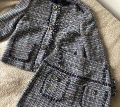 Zara komplet sako i suknja od tvida NOVO