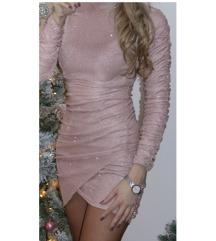 Roza šljokasta haljina