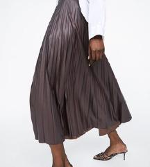 zara plisirana smeđa suknja xs, suknja 34
