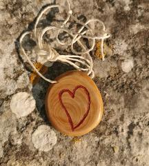 Drvo masline i ugravirano srce - privjesak