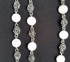 Vintage komplet tibetansko srebro i bijeli sedef
