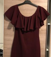 Bordo crvena midi haljina sa volanom