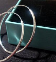 Srebrne naušnice, ringovi, žig 925, kutijica