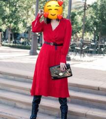 H&M crvena midi svečana haljina dugih rukava