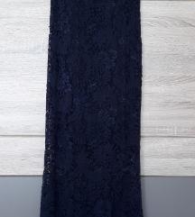 Tamno plava čipkasta haljina