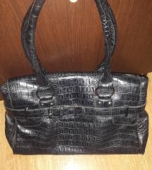 Crna kožna kroko torba