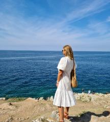 Zara bijela azur haljina L