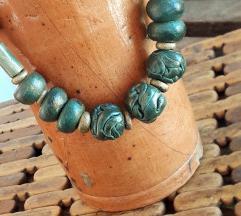 Zelena ogrlica od drva UNIKAT 31cm