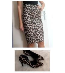 NOVI leopard komplet / set suknja 34 i salonke 37