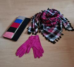 Lot Kozne nenosene ciklama rukavice/torba/marama