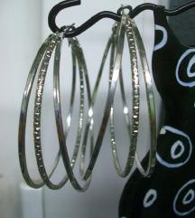 Srebrne naušnice/ringovi u tri reda