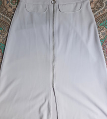 ASOS grey midi skirt zip trought
