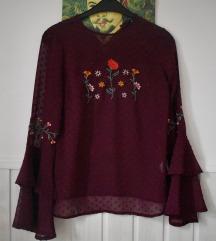 Bluza bordo cvijetna XS XXS