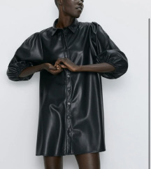 zara faux leather kožna haljina