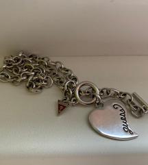 Guess srebrni lančić ogrlica srce