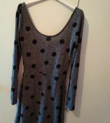 Haljina siva s točkicama