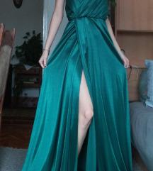 Svilena duga haljina s prorezom