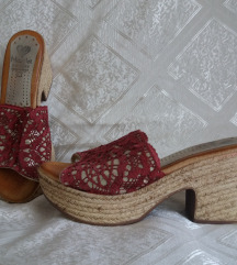 MARILA kožne sandale natikače špagerice wedge