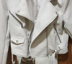 Bijela kozna jakna M